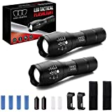 Gold Armour LED Tactical Flashlights with High Lumens, Rechargeable, Holster, 2Pack, Zoomable, 5 Modes, Water Resistant, Handheld Light for Camping, Emergencies, Kids, Adults, Home