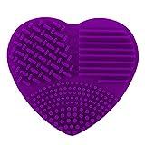 Limpiador de Brochas, Eouine Cosmético Brocha de Maquillaje Almohadilla de Silicona Limpieza de Pinceles para Cepillo (Púrpura)