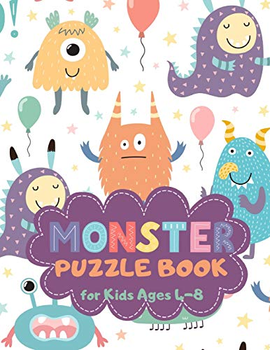 Monster Puzzle Book for Kids Ages 4-8: Cute Theme A Fun Kid Workbook Game for Learning, Coloring, Mazes, Sudoku and More! Best Holiday and Birthday Gift Idea