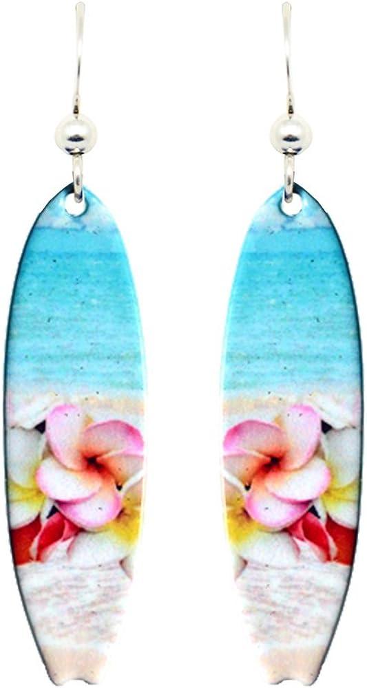 Plumeria Surfboard Earrings by d'ears Non-Tarnish Sterling Silve