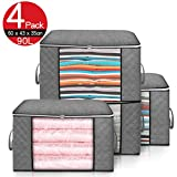 king do way Large Capacity Clothes Storage Bag Organizer with Zips,Reinforced Handles&Clear Window Foldable Underbed Storage Thick Fabric Anti-Mold Moistureproof for Comforters,Blankets,Bedding,4 Pack