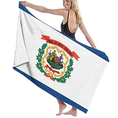 Lsjuee Toalla de playa de microfibra 31 'x 51' - West Virginia WV State Flags Toalla grande de secado rápido súper absorbente sin arena para baño / piscina para nadar, ducha, viaje, gimnasio, yoga, ac