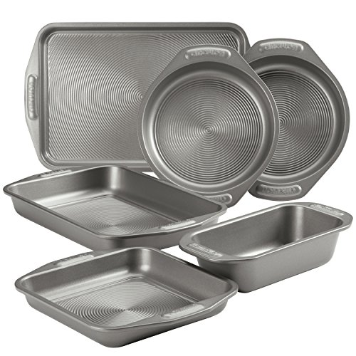 Circulon Total Nonstick Bakeware Set with Nonstick Cookie Sheet, Baking Pan and Bread Pan - 6 Piece, Gray
