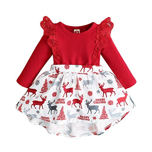 PROBABY Baby Girl Christmas Outfit 0-3 Months Baby Christmas Dress Infant Long Sleeve Romper My 1st Christmas Baby Girl Clothes