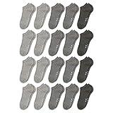 ORIGINAL BASICS Herren und Damen Sneaker Socken Füßlinge Kurz-Socken Baumwolle (20 Paar) Grautöne 41-46