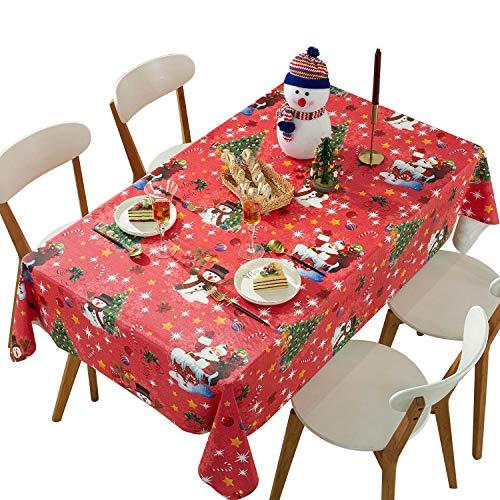 Qualsen, tovaglia Rettangolare in PVC, Tovaglia Rossa di Natale,Impermeabile, antimacchia, Pesante, Facile da Pulire, Vinile, 137 x 220 cm