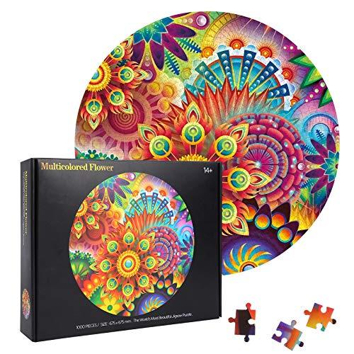 Herefun 1000 Teile Runde Puzzle, Blume Runde Puzzle Kreative, Blume Runde Puzzle Klassische für Kinder, Runde Puzzle Kinder Puzzle Spiel Geschenk (Blume)