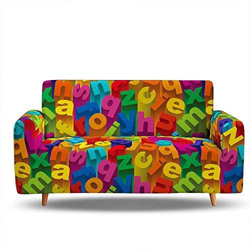 suave funda de sofá para sala de estar,Funda de sofá con estampado de colores de impresión 3D, funda de sofá elástica antideslizante a prueba de polvo, funda de sofá con todo incluido-Color1_90-140