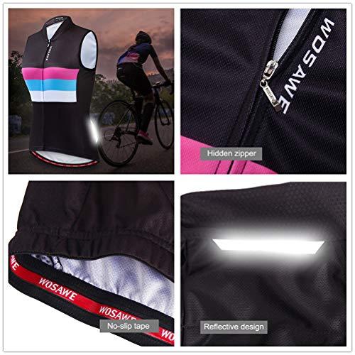 WOSAWE Damen Fahrradweste Atmungsaktive und Winddichte Bekleidung Triathlon Vest Sommer Ärmelloses Frauen Die Jersey (Color Shine S) - 5
