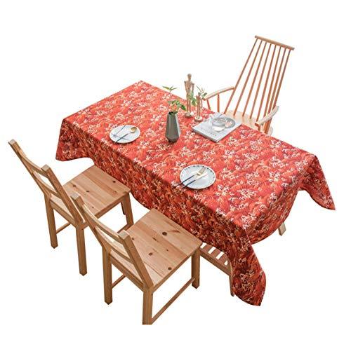 XINGXIAOYU Tischdecke Fliesen Japanischer Stil Wellen Baumwolle Leinen Schreibtischdecke Nagoya Red Leaf Rechteckig Haushalt Couchtischdecke Abdeckung Tuch, 130 * 180cm