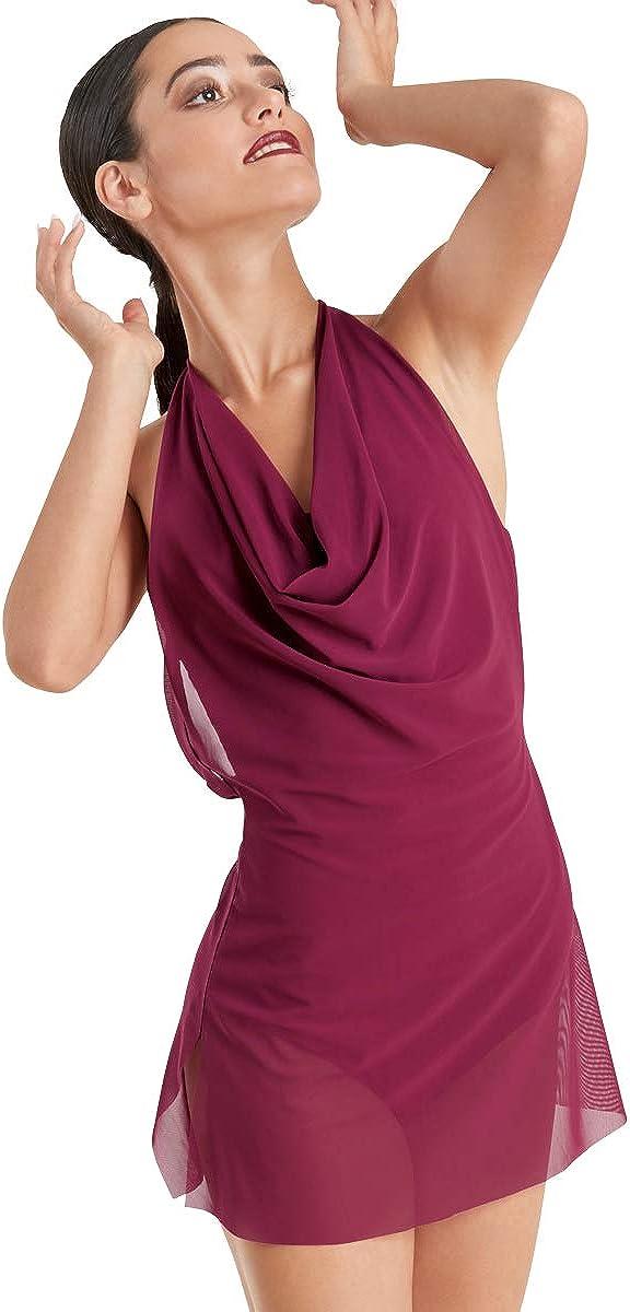 Balera Womens Mesh Cowl Neck Short Halter Dress for Dance