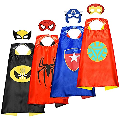 4 capas de superhéroe de dibujos animados para niños, superhéroes geniales, juguetes para niños, disfraces para Halloween, Navidad, cumpleaños, fiesta juego de disfraces para niños de 3 a 12 años