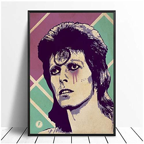 QQWER David Bowie Ziggy Stardust Music Poster Hip Hop Rap Music Band Star Poster Wall Art Painting Home Decor Canvas Print -50X70Cmx1Pcs -Nessuna Cornice