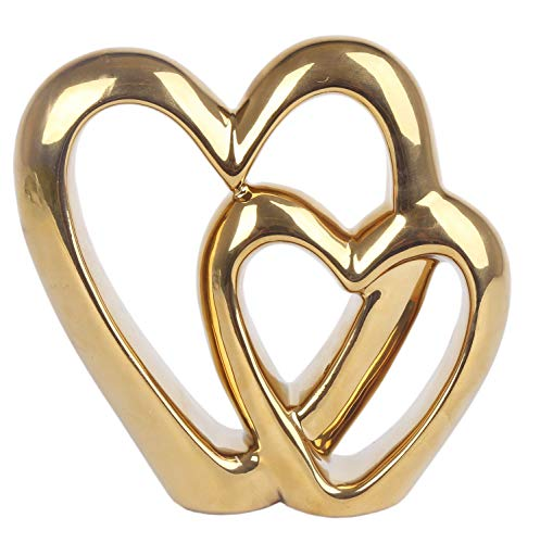 Carousel Home and Gifts Elegant Gold Effect Metal Double Love Heart Decorative Ornament