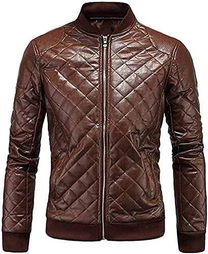Ropa para hombre Moto Biker Otoño e Invierno Cremallera Completa Regular Fit Cuero de Lujo Plaid Moto Chaqueta Abrigo