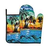 Funny Oven Mitt and Pot Holders Set Beach Sunset Tropical Tree Heat Resistant Cooking Mitts Potholder Food Safe Oven Gloves Grilling Gadgets to Protect Hands Surfaces for Men Women