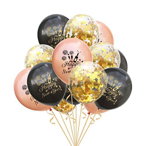 Amosfun 15pcs 2020 Happy New Year Latex Balloons Confetti Balloons 2020 New Year Eve Decorations Party Supplies Props 12 Inches (Black/Rose Gold/Gold Confetti)