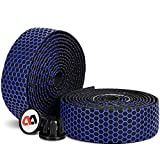 Cinta para manillar de bicicleta de carreras, 2 rollos antideslizantes, transpirables, EVA, cinta para manillar de bicicleta de carreras, absorción de sudor, autoadhesiva y amortiguadora, color azul
