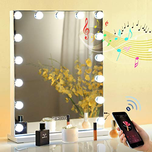 """Fenair Large Vanity Mirror with Lights,Bluetooth Speaker & USB Charging Port - 3 Color Lighting Model, Hollywood Makeup Mirror with 15 Bulbs(18""""x23"""")"""