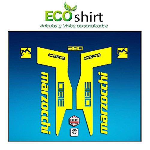 Ecoshirt IH-J115-SIHH Autocollants Fork Marzocchi 380 C2Rc Am71 Aufkleber Decals Autocollants Fourche Gabel Fourche Jaune