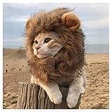 EONAZE Peluca de León para Perros Gato Mascota Ajustable Disfraz Gato León Melena con Orejas Gato Cachorro Mascotas Ropa Sombrero Dress Disfraces Costume para Navidad Fiesta