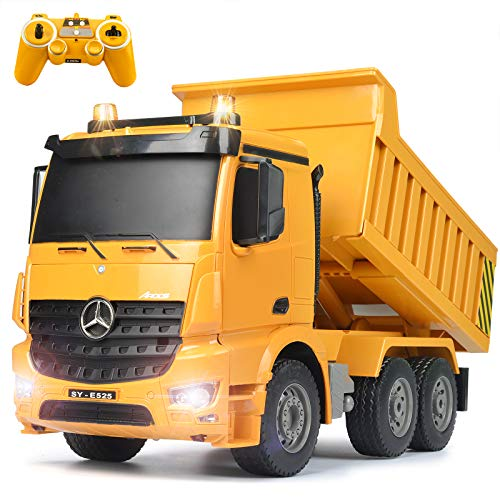 DOUBLE E Benz Licensed Remote Control Dump Truck Toy 8 Channel Hydraulic 2.4Ghz Electric Dumping LED Lights Construction Vehicles for Boys Girls Kids