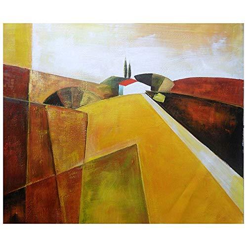 LegendArte Olio su Tela - Quadro su Tela Dipinto a Mano - Colline Estive, cm. 50x60 - Quadro Moderno Soggiorno