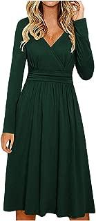 Women's Casual T Shirt Dresses Criss-Cross V-Neck Long Sleeve Plain Pleated Midi Dress