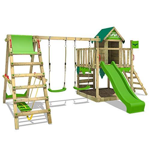 FATMOOSE Spielturm Klettergerüst JazzyJungle mit Schaukel SurfSwing & apfelgrüner Rutsche, Spielhaus mit Sandkasten, Leiter & Spiel-Zubehör