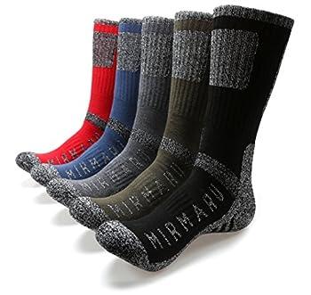 MIRMARU M203-Men s 5 Pairs Multi Performance Outdoor Sports Hiking Trekking Crew Socks  Black,Char,Olive,Blue,Red