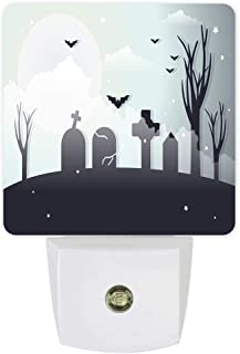 Plug-in Night Lights Halloween Gloomy Moonlight Graveyard with Flying Bats LED Night Lamp with Auto Dusk-to-Dawn Sensor Warm White Light& Ultra Low Power for Bedroom/Bathroom/Hallway/Kid's Room