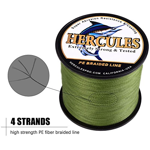 HERCULES Cost-Effective Super Strong 4 Strands Braided Fishing Line 6LB to 100LB Test for...