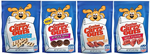 Canine Carry Outs Dog Treats 4-flavor Bundle, 5 Oz Each Bag of Burger Minis, Bacon & Cheese Flavor, Chicken Flavor and Beef Flavor.