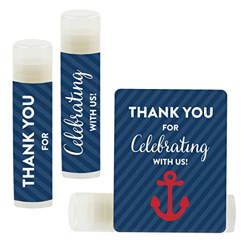 Andaz Press Lip Balm Birthday Party Favors, Thank You for Celebrating with Us, Nautical Anchor Navy Blue, 12-Pack, Nautical Anchor Themed Party Decor Gifts for Guests