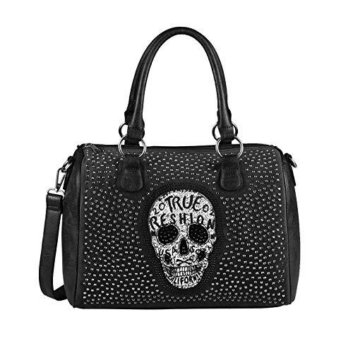 OBC Damen Totenkopf Skulls Tasche Bowling Handtasche Shopper Leder Optik Schultertasche Glitzer Umhängetache (Schwarz 36x28x14 cm)