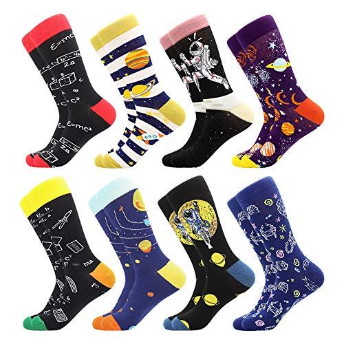 BONANGEL Calcetines de Vestir Divertidos, Coloridos Calcetines Para Hombres,Calcetines de Oficina de Algodón con Estampados Divertidos y Elegantes de Fantasía, Locos Geniales (8 Pairs-Math2)