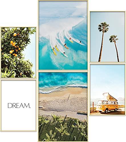 ARTORIA   Premium Poster Set OHNE Rahmen   Stilvolles Bilder: 4x A4 & 2x A3 für Wohnzimmer & Schlafzimmer & Büro   Schöne Geschenke mit ästhetischem Design   » Weißer Sand «