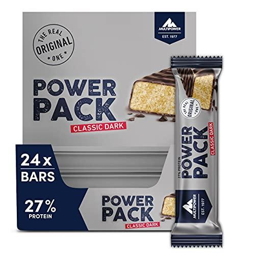Multipower Power Pack Classic Dark Protein Riegel, Eiweißriegel mit 27 % Protein, klassischer Bar als gesunder Sport-Snack, mit leichter Banane-Vanille-Note, 24 x 35 g