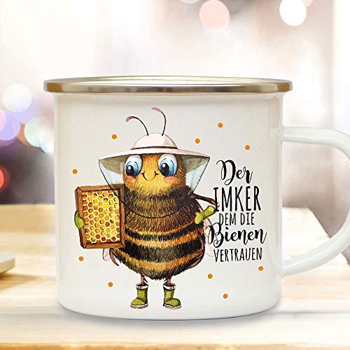 ilka parey wandtattoo-welt Emaille Becher Camping Tasse Biene Bienchen Spruch Der Imker dem die Bienen Vertrauen Kaffeetasse Geschenk Kaffeebecher eb504