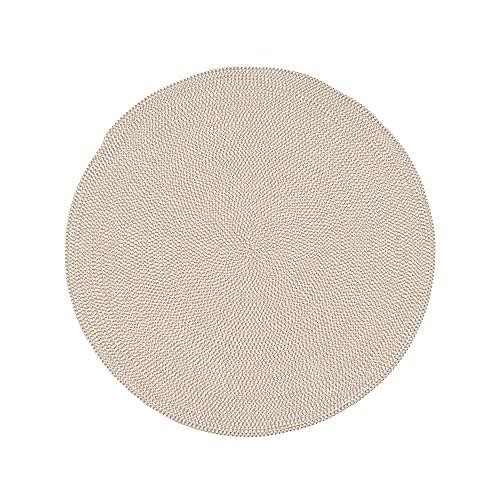 Alfombra rústica Trenzada con Cuerda Blanco y Natural de algodón y poliéster, de ø 90 cm - LOLAhome