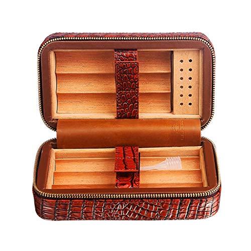 CLJ-LJ Cedro cuero Forro portátil de viaje caja de cigarrillos pueden incluir hasta 6 cigarrillos caja de los hombres de la caja de regalo constante la temperatura y la humedad ble for el clásico de N