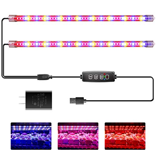 Led Grow Light Strip Full Spectrum Red&Blue&3500K Plant Light with Auto Cycle Timer 3/9/12 Hours 3 Spectrum Modes 10 Dimmable Brightness Level Growing Lamp for Indoor Plants from Seeding to Harvest