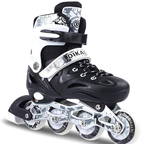 HANHJ Inline-Skates Mit Allen Beleuchteten Rädern Mit ABEC 7 Carbon-Kugellagern Inline-Skates Für Kinder, Jugendliche Und Erwachsene Einstellbar,Black-35~38