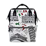 MIMUTI バックパック イタリアの有名なランドマークのシームレスなパターンの手 男女兼用 通学 通勤 旅行 スポーツ バッグ