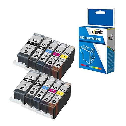 Fimpex Kompatibel Tinte Patrone Ersatz für Canon Pixma iP3600 iP4600 iP4700 MP540 MP550 MP560 MP620 MP630 MP640 MP980 MP990 MX860 MX870 PGI-520/CLI-521 (BK/C/M/Y, 10-Pack)