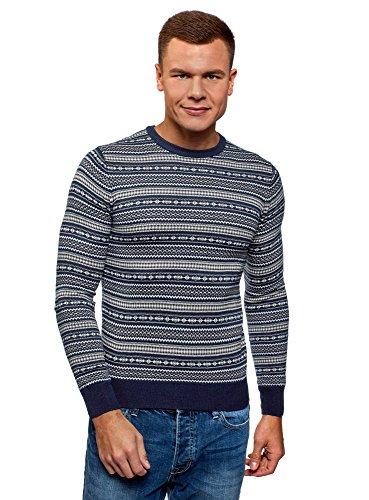 oodji Ultra Hombre Jersey de Punto de Jacquard, Azul, ES 50 / M