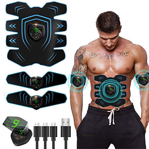 EGEYI EMS Trainingsgerät, EMS Bauchmuskeltrainer USB-Wiederaufladbarer Tragbarer Muskelstimulator,für Bauch,Arm,Bein-Fitness Trainings Gang
