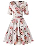 Women's V-Neck Floral Half Sleeve Midi Fit Flare Retro Dress Cocktail Dresses (Floral White,Size XL)