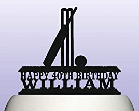 Personalised Acrylic Cricket Wicket Bat & Ball On Grass Birthday Cake Topper Decoration