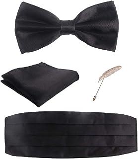 مجموعة إكسسوارات السهرة للرجال من الساتان، Cummerbund، ربطة عنق، منديل، دبوس بروش